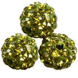 shamballa perle okrogle 8 mm, oliv.zelene, 1 kos