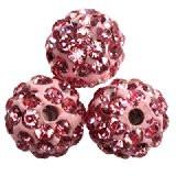 shamballa perle okrogle 8 mm, roza, 1 kos
