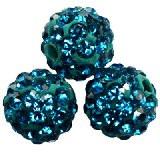 shamballa perle okrogle 8 mm, modre, 1 kos