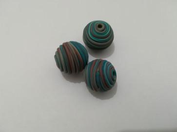 lesene perle okrogle 14 mm, rjavo-modre, 1 kos