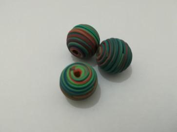 lesene perle okrogle 14 mm, zeleno-rdeče, 1 kos
