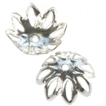 dekorativna kapa 13,6 mm, srebrne b., 10 kos