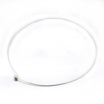 kovinska osnova za ogrlico 14 cm, srebrne b., 1 kos