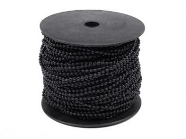 plastične perle na vrvici, 3 mm, črne, 1 m
