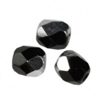 perle - češko steklo 4 mm, črno srebrne, 10 kos
