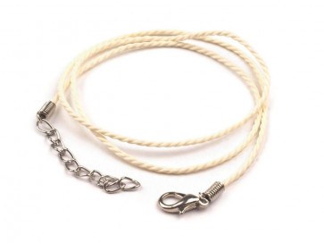 osnova za ogrlico - bombažna, beige, 45 cm, 1 kos