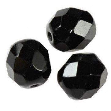 perle - češko steklo 8 mm, črne, 10 kos