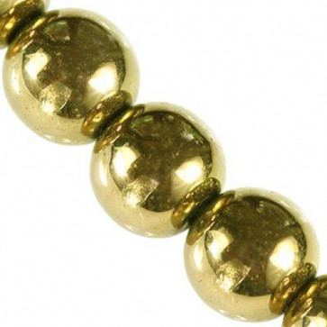 perle - dekorativni kamen 4 mm, zlate barve, 1 niz - 38 cm