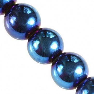 perle - dekorativni kamen 4 mm, modre barve, 1 niz - 38 cm