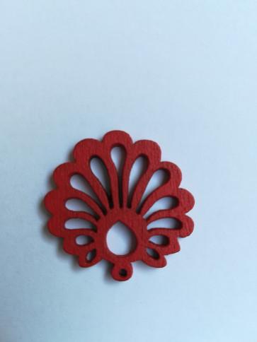 lesena školjka 25 mm, rdeča, 5 kos