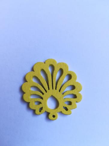 lesena školjka 25 mm, rumena, 5 kos