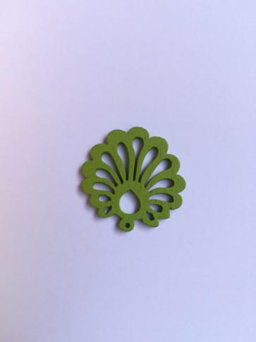 lesena školjka 25 mm, zelena, 5 kos