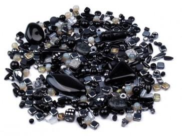 steklene perle - mix, črne, 50 g