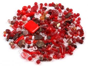 steklene perle - mix, rdeče, 50 g