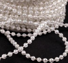 plastične perle na vrvici, 3 mm, bele, prosojne, 1 m