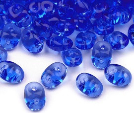 perle Rocailles 2,5x5 mm, 2 luknji, modre, 10 g