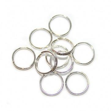 zaključni obroček dvojni 5 mm, posrebren, 50 kos