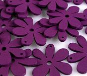 lesene perle roža 35 x 40 mm, vijola, 5 kos