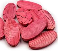 lesene perle 30x60 mm, ovalne, temno roza, 1 kos