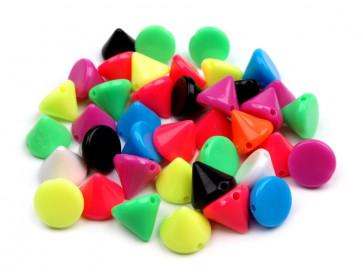 plastične perle - stožec, 10 x 10 mm, mix, 10 kos