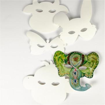 maska iz kartona 13-24 cm, za poslikavo, slon, z elastiko, 1 kos