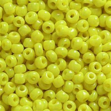 steklene perle 2 mm, rumene, neprosojne, 20 gr