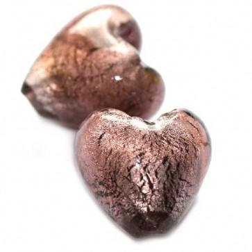 obesek iz stekla - srce 20 mm, amethyst, 1 kos