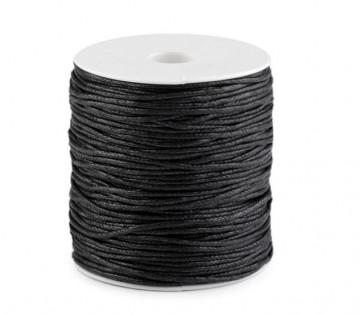 bombažna vrvica 1,5 mm, črna, povoščena, 85 m