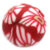 fimo perle okrogle 10 mm, rdeče, 5 kos
