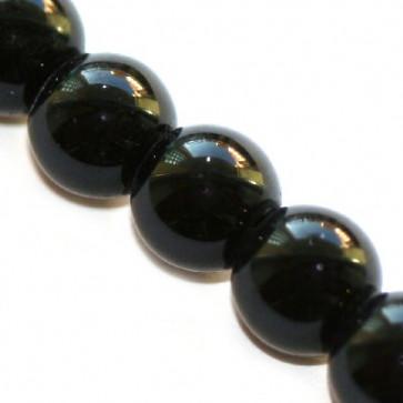steklene perle 8 mm, črne, 1 niz - 32 cm