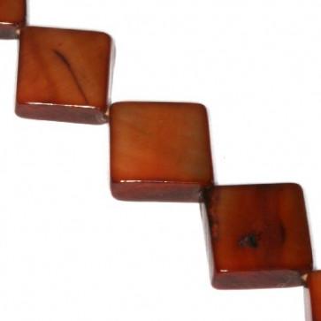 školjke, kvadratne 10 x 10 mm, rjave, 1 niz - 40 cm