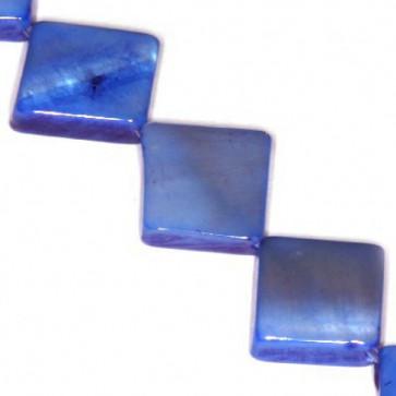 školjke kvadratne 10 x 10 mm, modre, 1 niz-40 cm