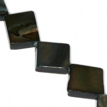 školjke kvadratne 10 x 10 mm, črne, 1 niz-40 cm