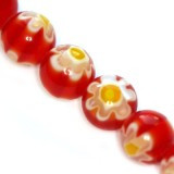 millefiori perle okrogle 8 mm, rdeče, 1 niz-38 cm