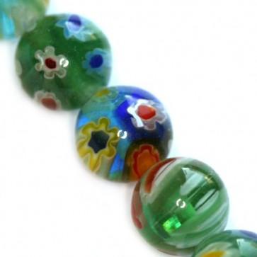 millefiori perle okrogle 8 mm, zelene, 1 niz-38 cm