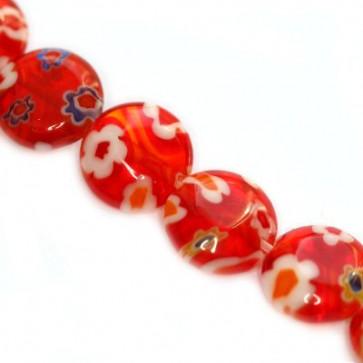 millefiori perle okrogle plošč. 8 mm, rdeče, 1 niz-38 cm