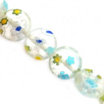 millefiori perle okrogle plošč. 8 mm, bele, 1 niz-38 cm