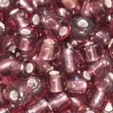 steklene perle 3,5 mm, vijola, srebrna sredica, 20 gr