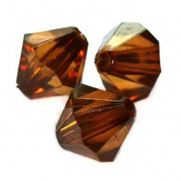 plastične perle, bikoni 10 mm, rjave, 50 gr