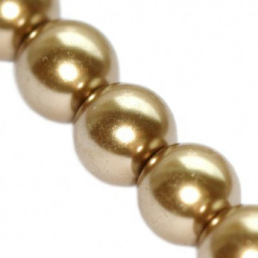 steklene perle, okrogle 10 mm, kašmir, 1 niz - 80 cm