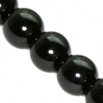 steklene perle, okrogle 10 mm, črne, 1 niz - 80 cm