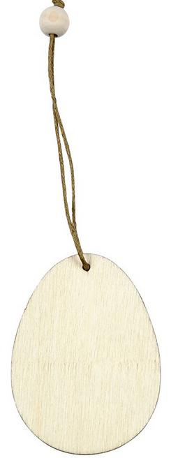 leseni obesek - jajce 6 cm, naraven, z vrvico, 1 kos