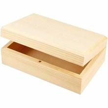 lesena škatla za nakit 14x9x5 cm, naravna b., 1 kos