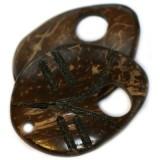 kokos perle, list 5 cm, naravne - temno rjave, 1 kos
