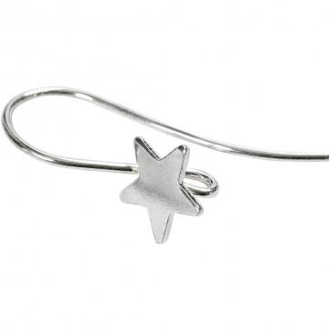 kavelj za uhan z zvezdico, srebrne barve, 24 mm, 1 kos