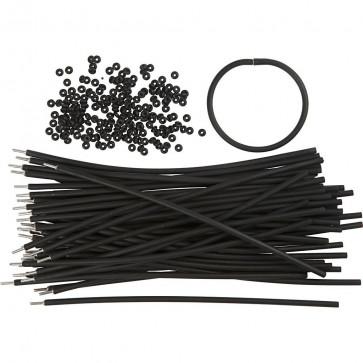 silikonska osnova za zapestnico, 20 cm, črna, 1 kos