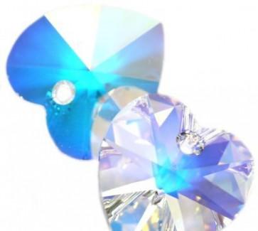 obesek Swarovski 10.3x10 mm, srce, crystal ab, 1 kos