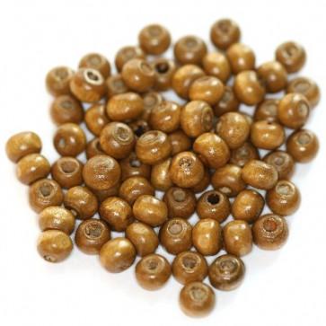 lesene perle, okrogle 5x6 mm, sv. rjave, 50 gr