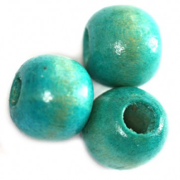 lesene perle, okrogle 9x10 mm, turkizne, 50 gr