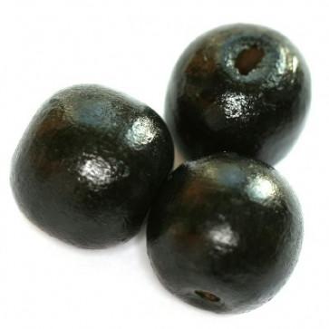 lesene perle, okrogle 11x12 mm, črne, 50 gr
